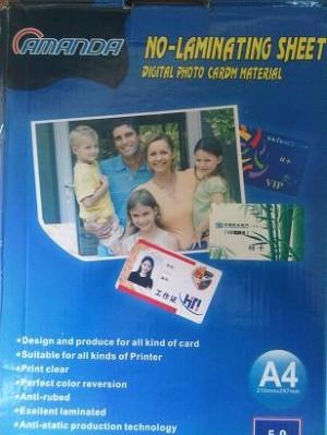 Kertas PVC Bahan ID Card Instan 50 Set Merk Amanda