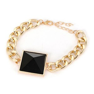 GELANG KOREA GOLD PIRAMID BLACK