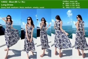 Long dress biru chiffon,inner silk import
