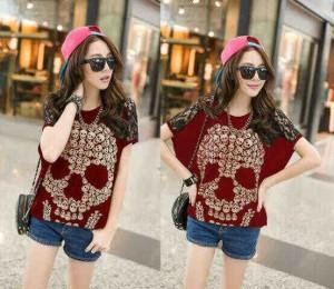 skull lace maroon