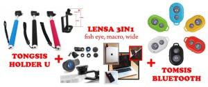 PAKET Tongsis Holder U + Lensa 3in1 Fisheye Macro Wide + Tomsis Bluetooth Murah