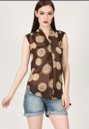 Blouse Transparent Clock*Brown and Navy Blue