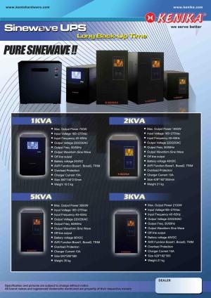 Pure Sinewave UPS Single Phase KC Series 1000 VA