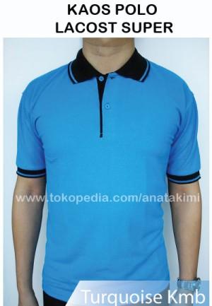 Polo Shirt Bahan Lacost Super Warna Biru Turquoise Kaos Kerah