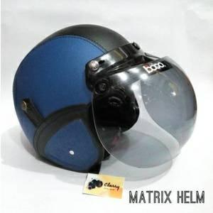 Helm Bogo Vespa Biru/ retro klasik kulit