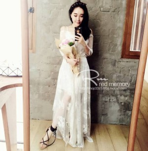 harga SX6SLSE White Dress Putih Long Dress Panjang Lace Brukat Transparan Tokopedia.com