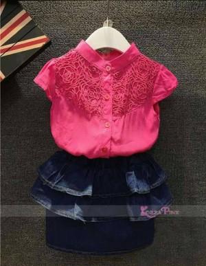 Setelan anak perempuan KOREA PINK ROK JEANS RUFFLE import murah