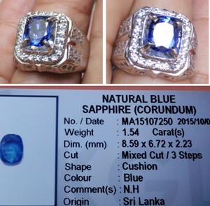 harga 1,54cts No heat blue safir ceylon big table memo KGL lab Tokopedia.com
