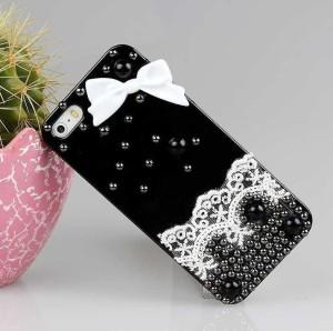 harga Case iPhonE 5 5S Handmade3D PITA RENDA MUTIARA HARD CASE HITAM Tokopedia.com