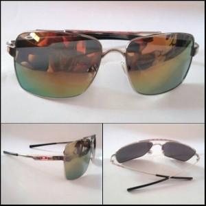 Kacamata Sunglasses Oakley Deviation Silver Frame w/ Fire Lens and Red Logo