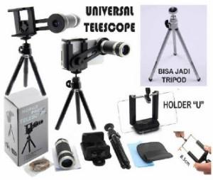 Lensa Telezoom 8x + Tripod Mini (Mobile phone)