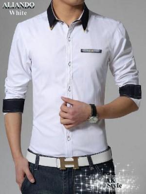 harga Kemeja Pria Lengan Panjang Slimfit Putih White Korea Murah K037 Tokopedia.com