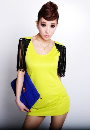 Dress Yellow Import Cotton Polyester