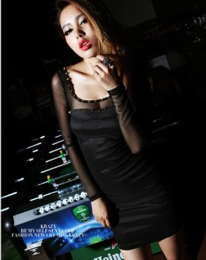 Dress Black Import Polyester + Gauze, with thin bra cup