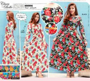harga CB - 0996 Maxi Dress Katun stretch Motif Flower By Clara Belle Tokopedia.com