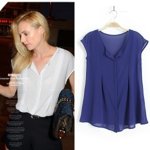 Thin Top Blue Relax N Casual Import Soft chiffon