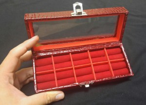 Kotak Cincin Kaca Merah (10 PCS)