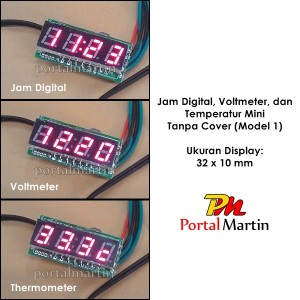 Jam Digital, Voltmeter, dan Termometer Mini Tanpa Cover (Model 1)