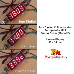 Jam Digital, Voltmeter, dan Termometer Mini Tanpa Cover (Model 2)