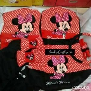Sarung Jok Mobil 18 in 1 MINNIE MOUSE New Onde Red