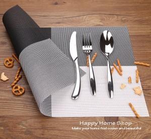 Alas Makan / Alas Piring / Table Mat PVC Anti slip Hitam Putih