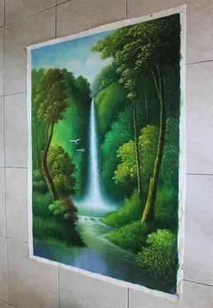 Lukisan Pemandangan Hutan dan Air Terjun ( S48 )