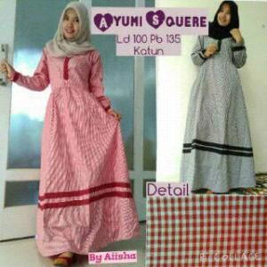 Jual Gamis Motif Kotak Kotak Merah Hitam Dress Baju Muslim
