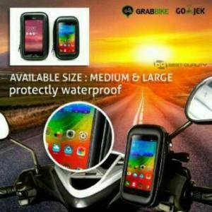 Holder HP GPS Stang Sepeda / Motor Waterproof Anti Air 5 - 5.5 inch