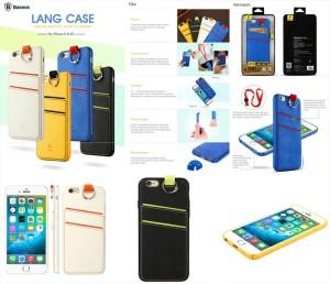 Baseus Lang hard soft id Case gantungan tali kalung strap iPhone 6 6S