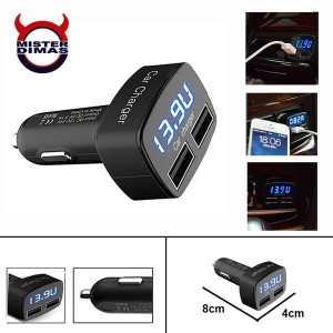 Charger Mobil 4 in 1 Dual USB 3.1 A - Voltmeter,Termometer,Ammeter