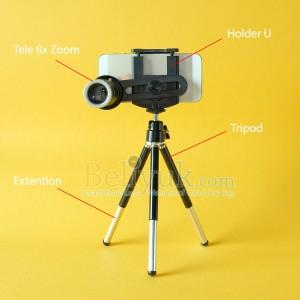 Original Telephoto 8x Optical Zoom Flexible Holder Gratis Tripod