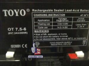 Toyo 6v - 7,5 ah (Aki Mobil & Motor mainan)