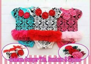 Pink Tutu Jumper Batik Tile , Sepatu , Headband : Jumper Bayi