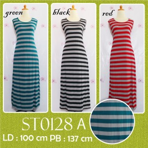 ST0128 A Dress Panjang Tanpa lengan Salur (singlet)