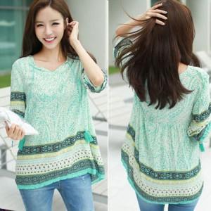 Kaos Wanita Import Blouse Batik Lengan 34 Atasan Cewek Biru Motif