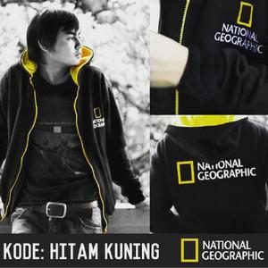 Jaket Hoodie National Geographic Hitam Kuning