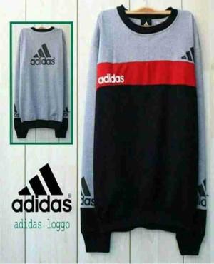 Jual Baju Murah / Grosir Baju Jaket Sweater / Adidas Logo Red Grey