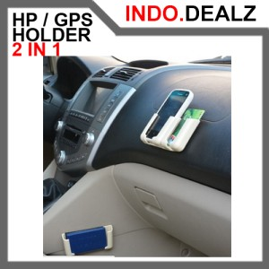 Car Handphone GPS Holder 2 in 1 Adjustable Pegangan Hp Aksesoris Mobil