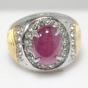 Cincin Batu Permata Natural Ruby / Rubi Cabochon Ring Titanium