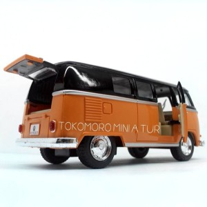 VW Kombi classical bus oren hitam miniatur diecast mobil unik lucu