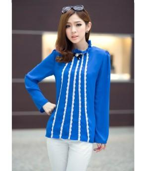 Blue Chiffon Blouse - Baju Wanita Import - Blouse Lengan Panjang