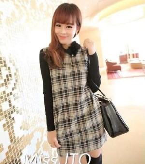 harga Blue Grid  Dress - Baju Wanita Import - Dress Lengan Panjang Tokopedia.com