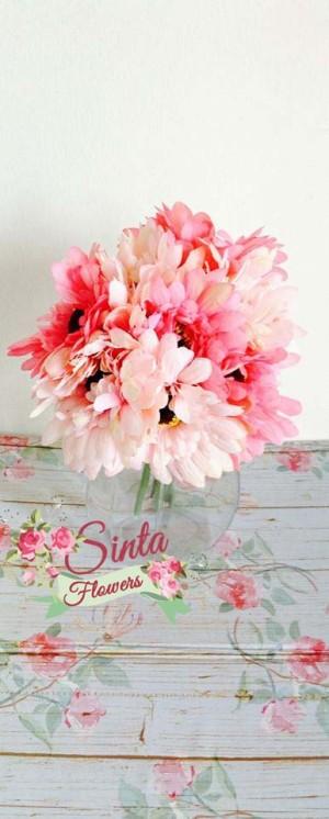 bunga plastik,bunga artificial,bunga,bouquet,pink,shabby chic,impor