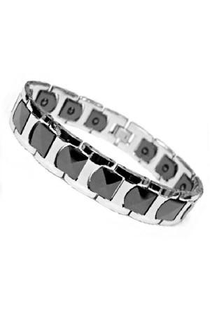 Premium Black Silver Tungsten Magnetic Bracelet Gelang Pria Kesehatan