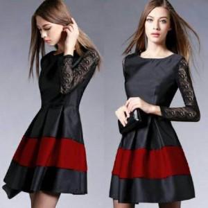 harga Alina Dress (Gaun Lengan Panjang Brokat Kombinasi Jersey Warna Hitam) Tokopedia.com