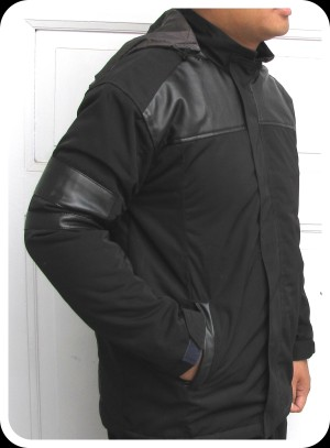 Jaket outdoor tahan air bhn taslan coating kombinasi semi kulit XXL