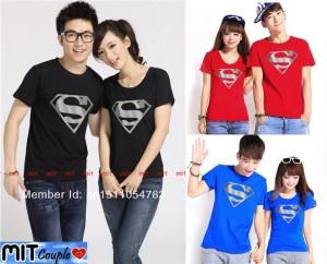 Jual Kaos Couple Lengan Pendek Baju Pasangan White Superman
