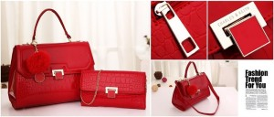 tas charles and keith glossy merah Free Dompet