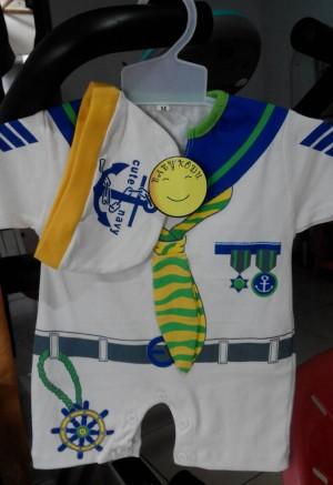 harga baju kodok pelaut/sailor+topi untuk usia 0-6 blnan Tokopedia.com