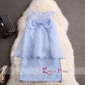 DRESS ANAK KOREA PINK RIBBON BLUE